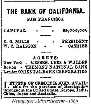 Bank of Cal 1869 ad