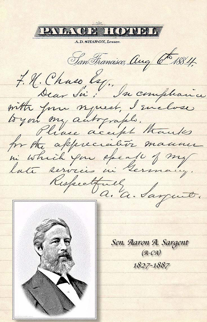 AA Sargent 1884 letter