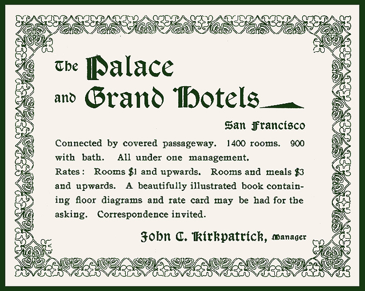 Palace & Grand Hotels ad 1898