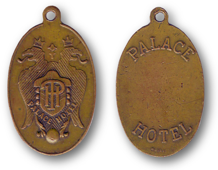 Palace Hotel San Francisco  brass roomkey fob circa 1930